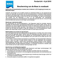 Persbericht RIWA Maas jaarrapport 2015
