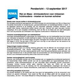 Persbericht RIWA Jaarrapport Rijn Maas 2016